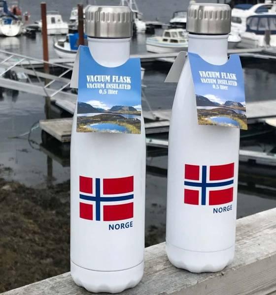Bilde av Termoflaske med norsk flagg