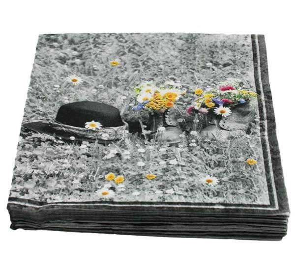 Bilde av Servietter, sko med blomster - Prydserien