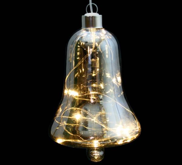 Bilde av Bjelle i sotet glass med LED lys, stor