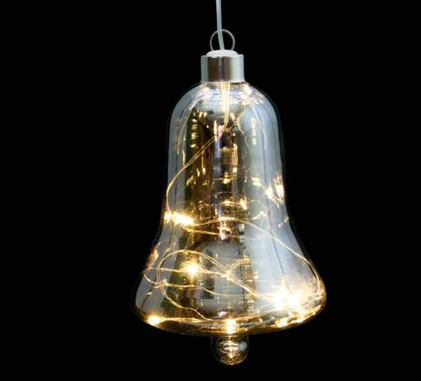 Bilde av Bjelle i sotet glass med LED lys, liten