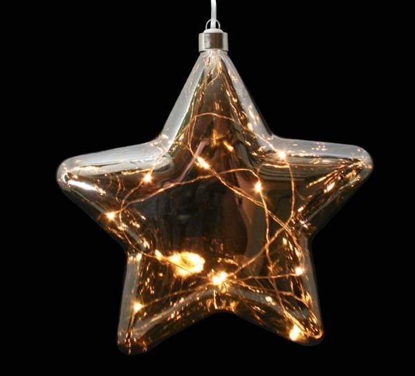 Bilde av Stjerne sotetglass med LED lys, stor