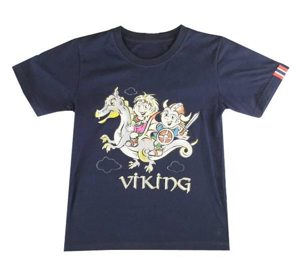 Bilde av Barne T-skjorte vikingbarn blå