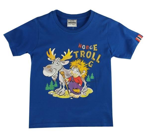 Bilde av Barne T-skjorte trollgutt med elg, kongeblå