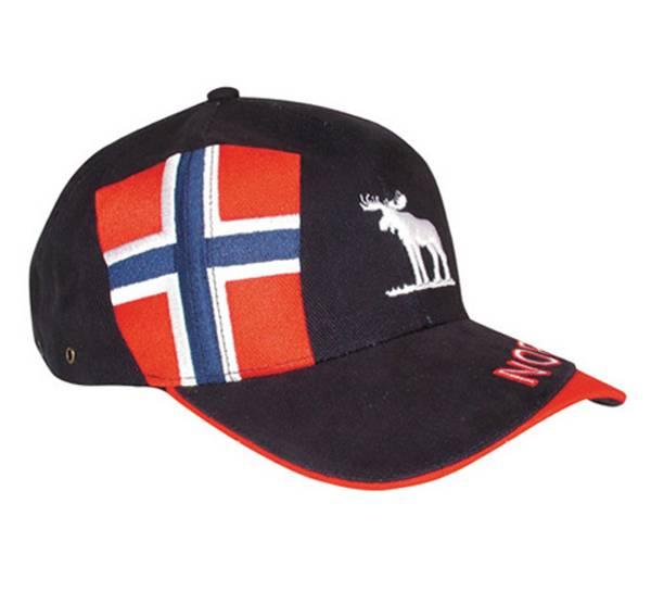 Bilde av Caps blå med brodert elg og flagg Norway