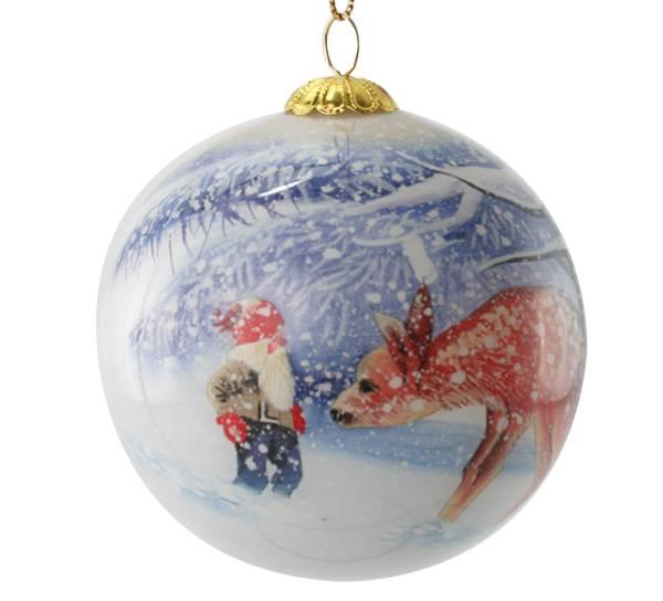 Bilde av Julekule, Nisse med rådyr.