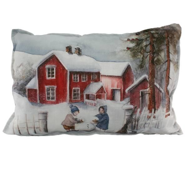 Bilde av Pute med fyll, Barn lager snømann, Vinterbarn