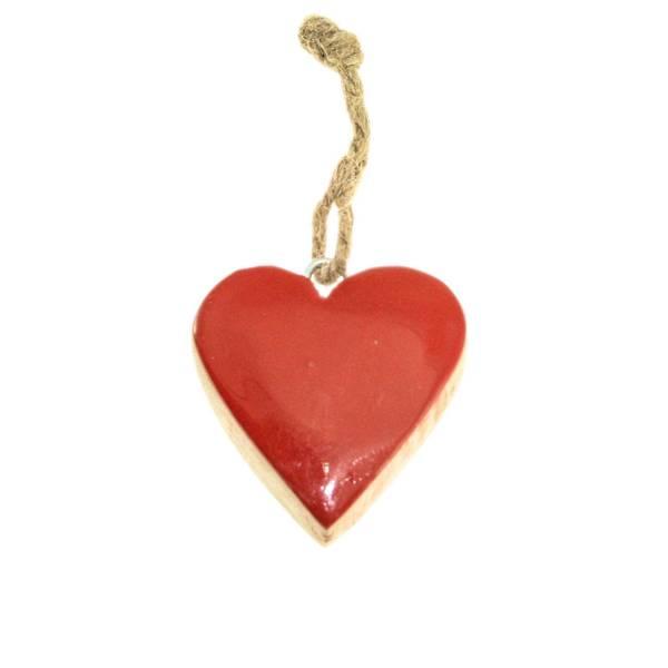 Bilde av Rødt blankt hjerte av tre, stort, for oppheng,