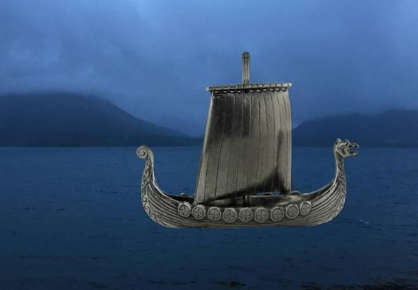 Bilde av Vikingskip m/9 skjold Tinn-Per