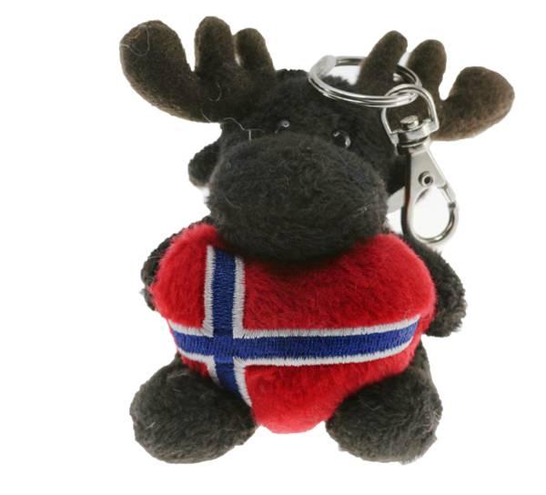 Bilde av Nøkkelring, elg med hjerte, norsk flagg