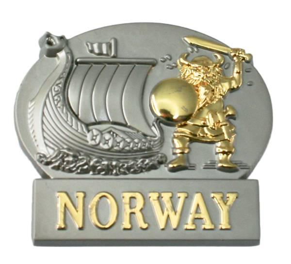 Bilde av Magnet, metall, gull viking m. vikingskip