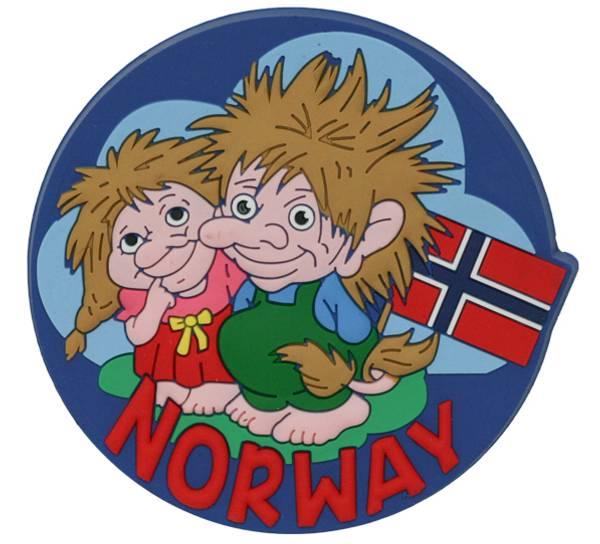 Bilde av Magnet, PVC, to troll med flagg