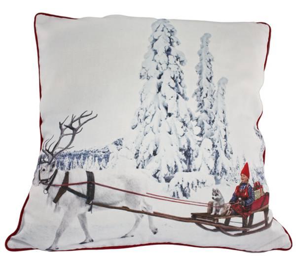 Bilde av Pute med fyll, Anja kjører kjelke, 'Juledrømmen'