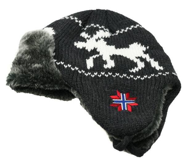 Bilde av Strikkelue med ørelapper, elg og flaggstjerne,
