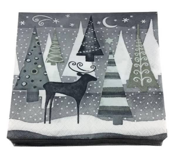 Bilde av Servietter, juletre i natten